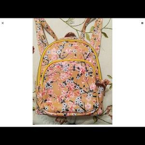 Yellow Mini Backpack With Cherry Blossom